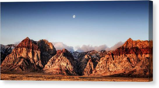 Moon Over Red Rock Canyon Canvas Print