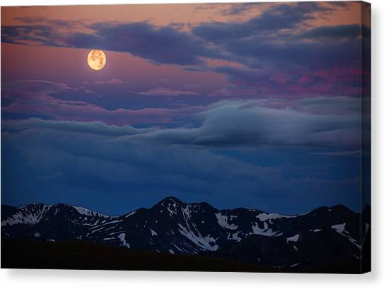 Moon Over Rockies Canvas Print