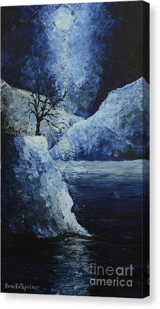 Moon Over Canvas Print by Roni Ruth Palmer