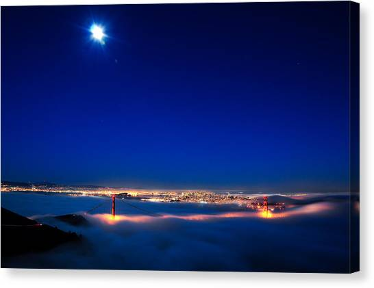 Moon Over San Francisco In Fog Canvas Print