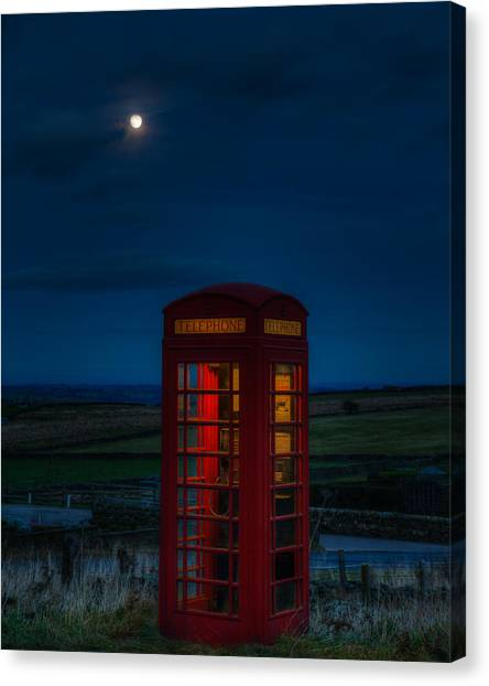 Moon Over Telephone Booth Canvas Print