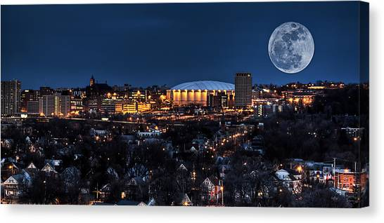 City Landscape Canvas Print - Moon Over The Carrier Dome by Everet Regal