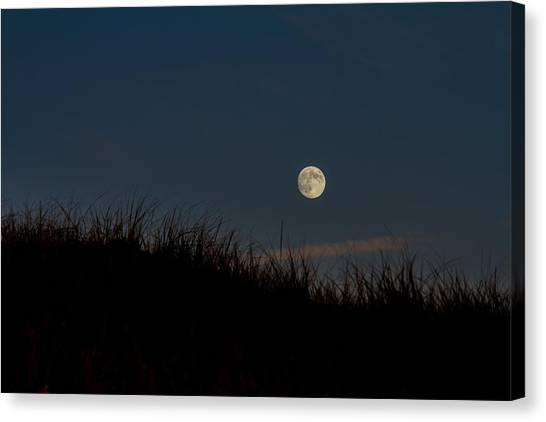 Moon Over The Dunes Canvas Print