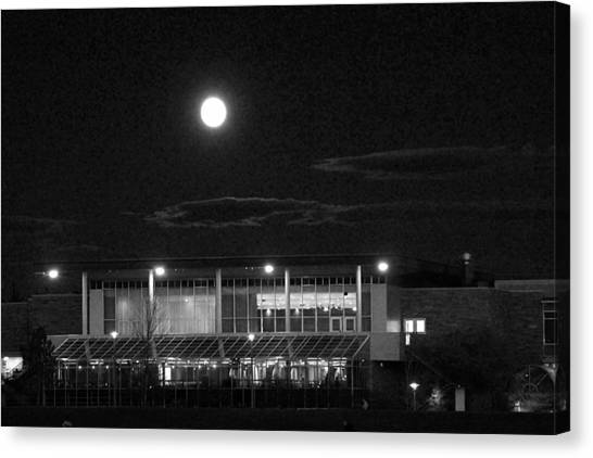 Colorado State University Canvas Print - Moon Over The Lsc by Emily Clingman