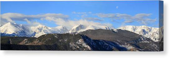 Moon Over The Rockies - Panorama Canvas Print