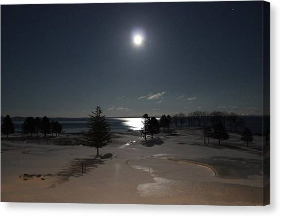 Moon Over The Samoset Canvas Print