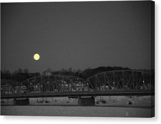 Moon Over The Steel Bridge Canvas Print