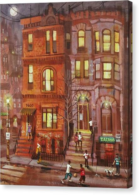 Chicago Fire Canvas Print - Moon Over Third Street by Tom Shropshire