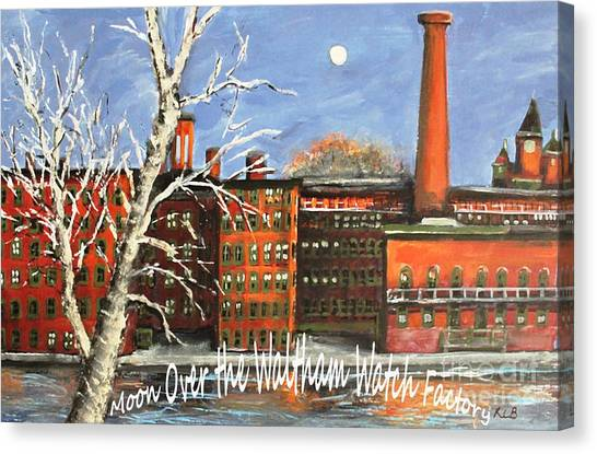 Moon Over Waltham Watch Canvas Print