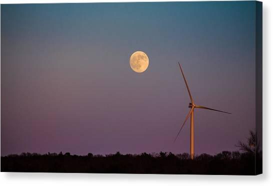 Moon Over Wind Generator Canvas Print
