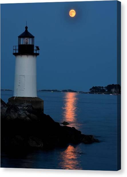 Moon Over Winter Island Salem Ma Canvas Print