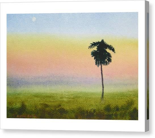 Moon Palm Canvas Print