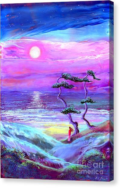 Pine Trees Canvas Print - Moon Pathway,seascape by Jane Small