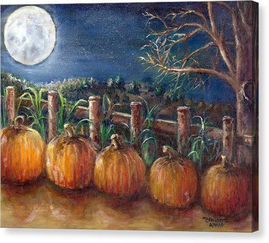 Moon Pumpkin Harvest Canvas Print