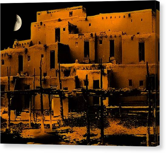 Moon Rise At The Pueblo Canvas Print