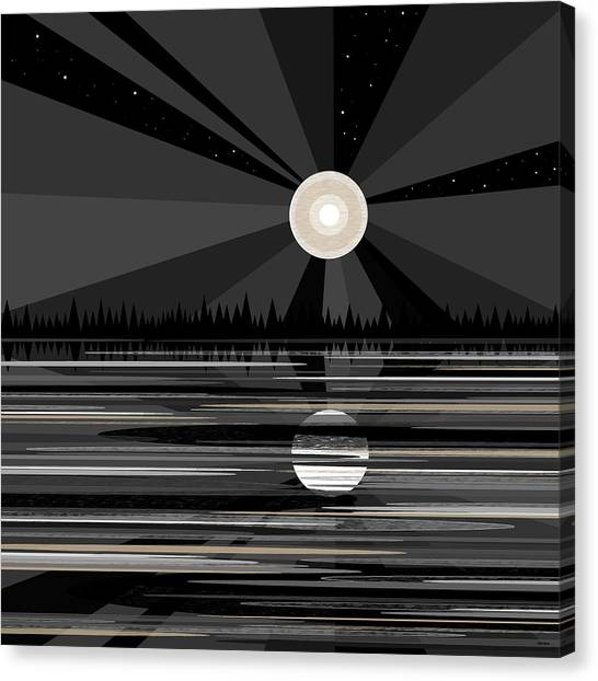 Moon Rise - Black And White Canvas Print