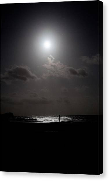 Moon Rise Over Ocean Canvas Print