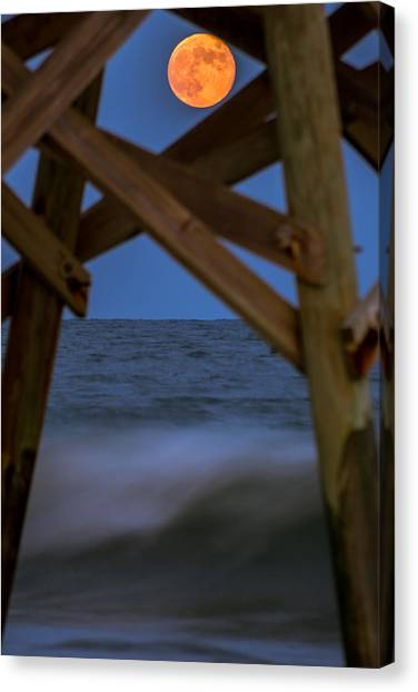 Moon Rise Under Pier Canvas Print