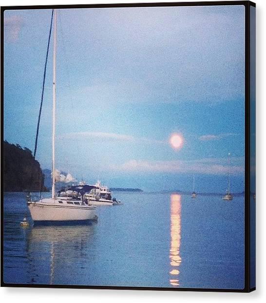 Sailboats Canvas Print - Moon Rising At Sucia by Mikaela Pederson