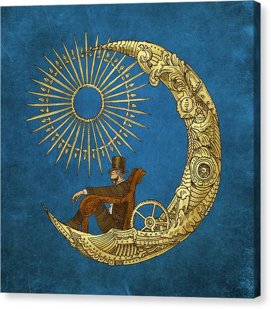 Steampunk Canvas Print - Moon Travel by Eric Fan