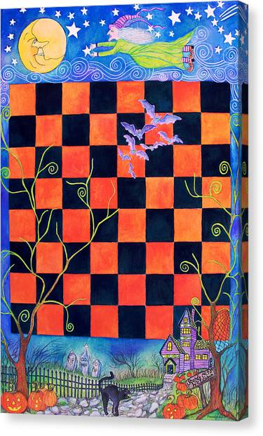 Flight Of The Moon Witch Checkerboard Canvas Print
