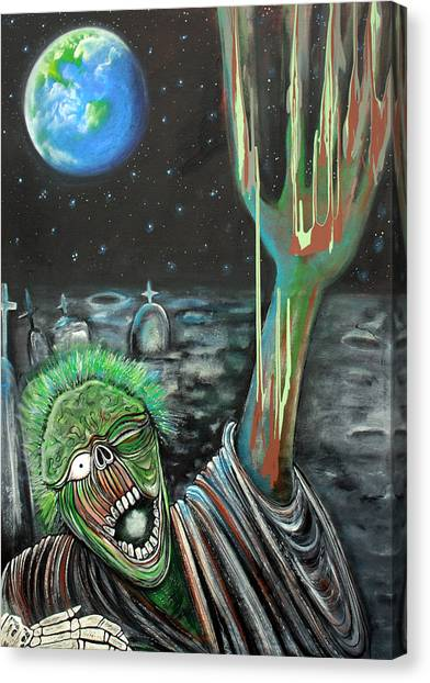 Moon Zombie Canvas Print by Laura Barbosa