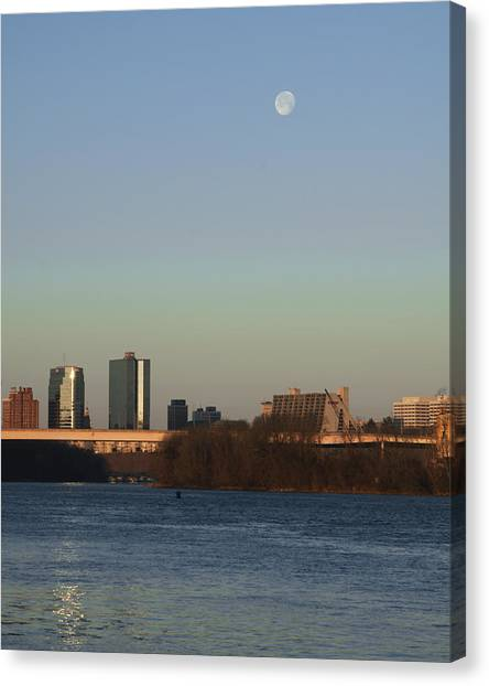 Mooning In The City Canvas Print by Zachary Hitchcock
