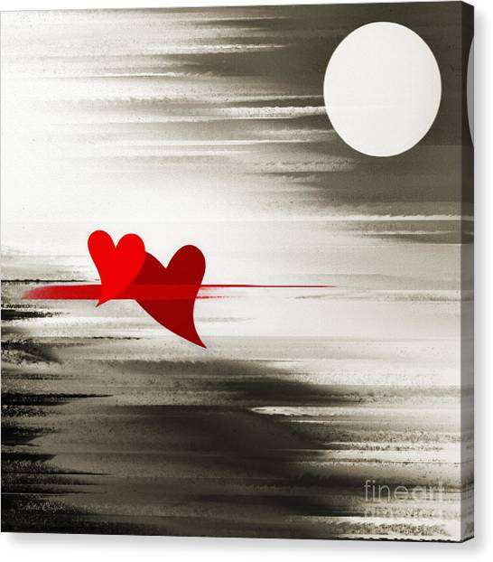 Andee Design Black Canvas Print - Moonlight And In Love by Andee Design