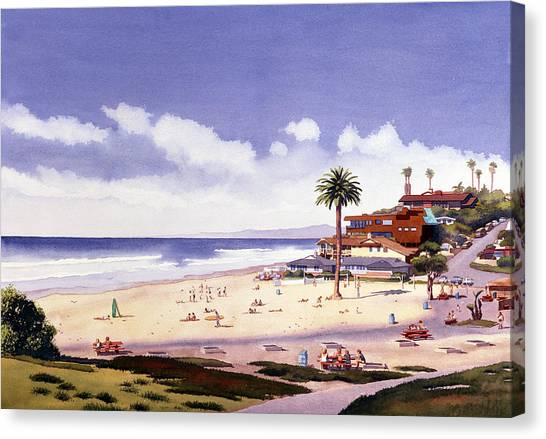 California Canvas Print - Moonlight Beach Encinitas by Mary Helmreich