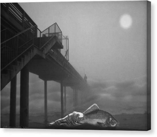 Moonlight Beach Canvas Print by Larry Butterworth