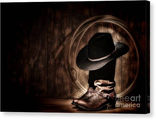 Cowboy Boots Canvas Print - Moonlight Cowboy by Olivier Le Queinec
