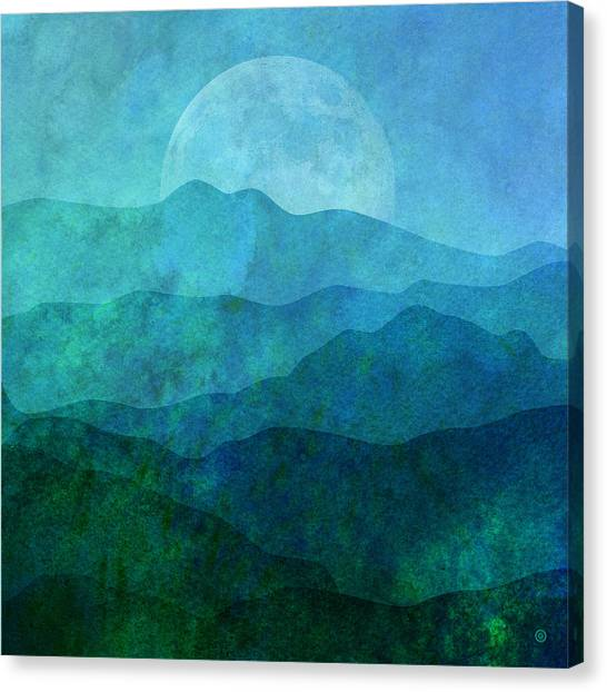 Moon Canvas Print - Moonlight Hills by Gary Grayson