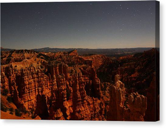 Canvas Print featuring the photograph Moonlight In Bryce Canyon by Jean Clark