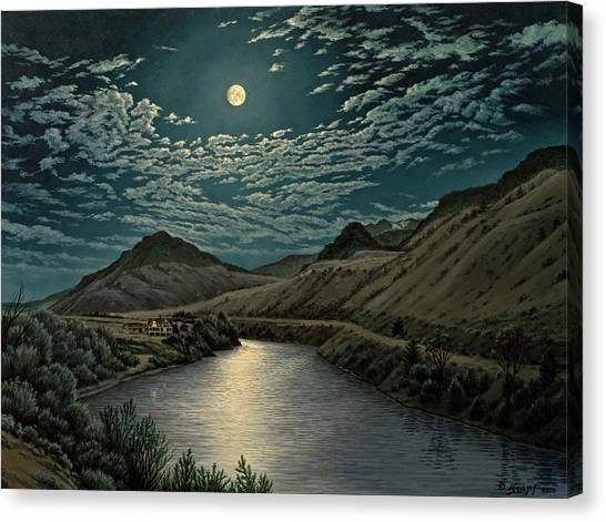 Yellowstone Canvas Print - Moonlight On The Yellowstone by Paul Krapf