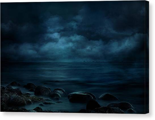 Mood Canvas Print - Moonlight Over Distant Shores by Willy Marthinussen