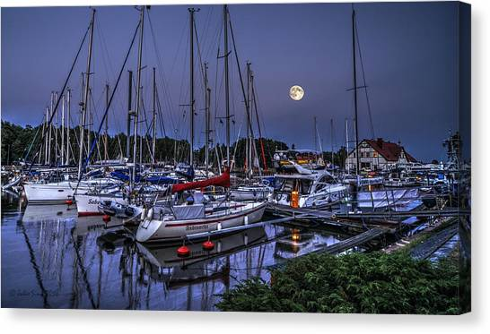 Moonlight Over Yacht Marina In Leba In Poland Canvas Print
