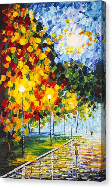 Canvas Print featuring the painting Moonlight Raindrops Original Acrylic Palette Knife Painting by Georgeta Blanaru