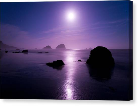 Pacific Coast Canvas Print - Moonlight Reflection by Chad Dutson