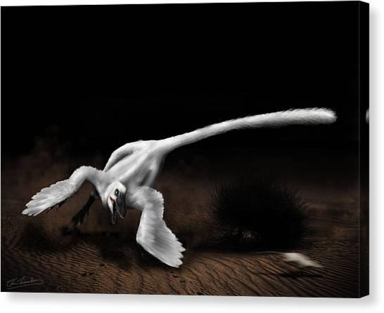 Velociraptor Canvas Print - Moonlight Runner by Christian Masnaghetti