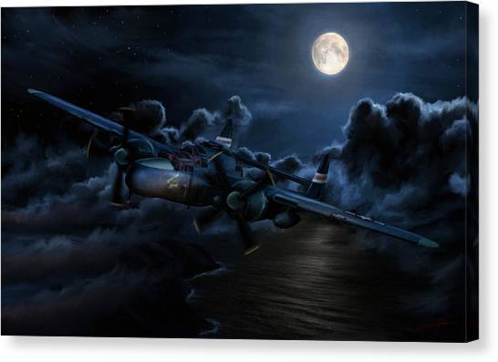 Black Widow Canvas Print - Moonlight Serenade by Dale Jackson