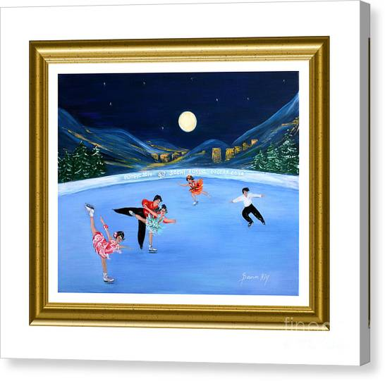 Moonlight Skating. Inspirations Collection. Card Canvas Print