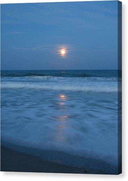 Moonlit Beach Too Canvas Print by Peggy Burley
