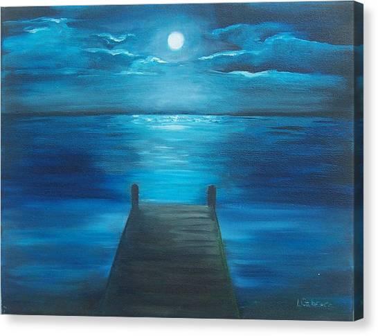 Moonlit Dock Canvas Print