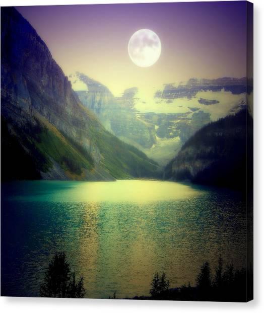 Mountainscape Canvas Print - Moonlit Encounter by Karen Wiles