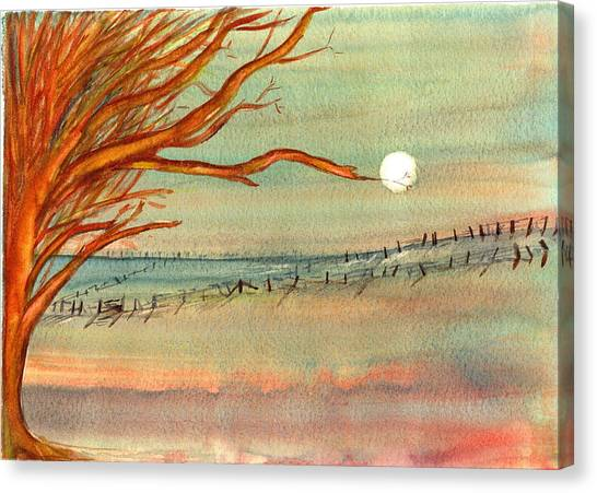 Moonlit Farmland Canvas Print