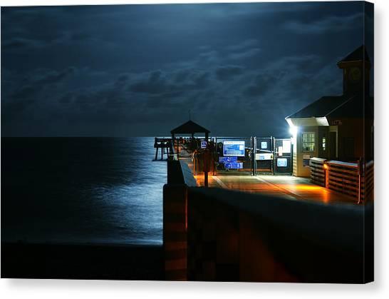 Moonlit Pier Canvas Print