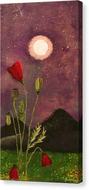Moonlit Poppies Canvas Print by Rebecca Pickrel