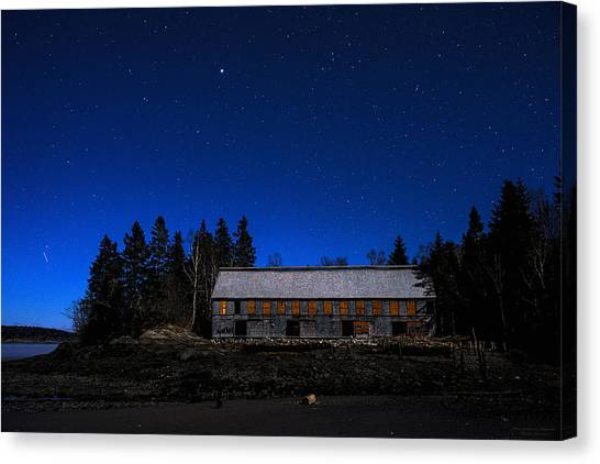 Smokehouses Canvas Print - Moonlit Starscape At The Old Smokehouse by Marty Saccone