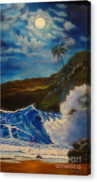 Moonlit Wave 11 Canvas Print