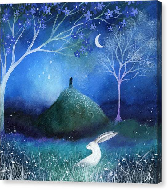 Blue Canvas Print - Moonlite And Hare by Amanda Clark